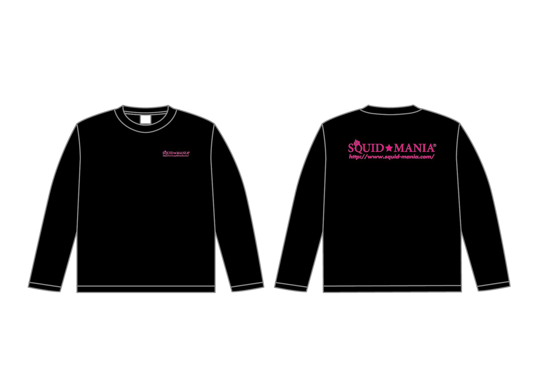 画像1: スクマニ CROWN RING ロングTシャツ(ブラック×蛍光ピンク)