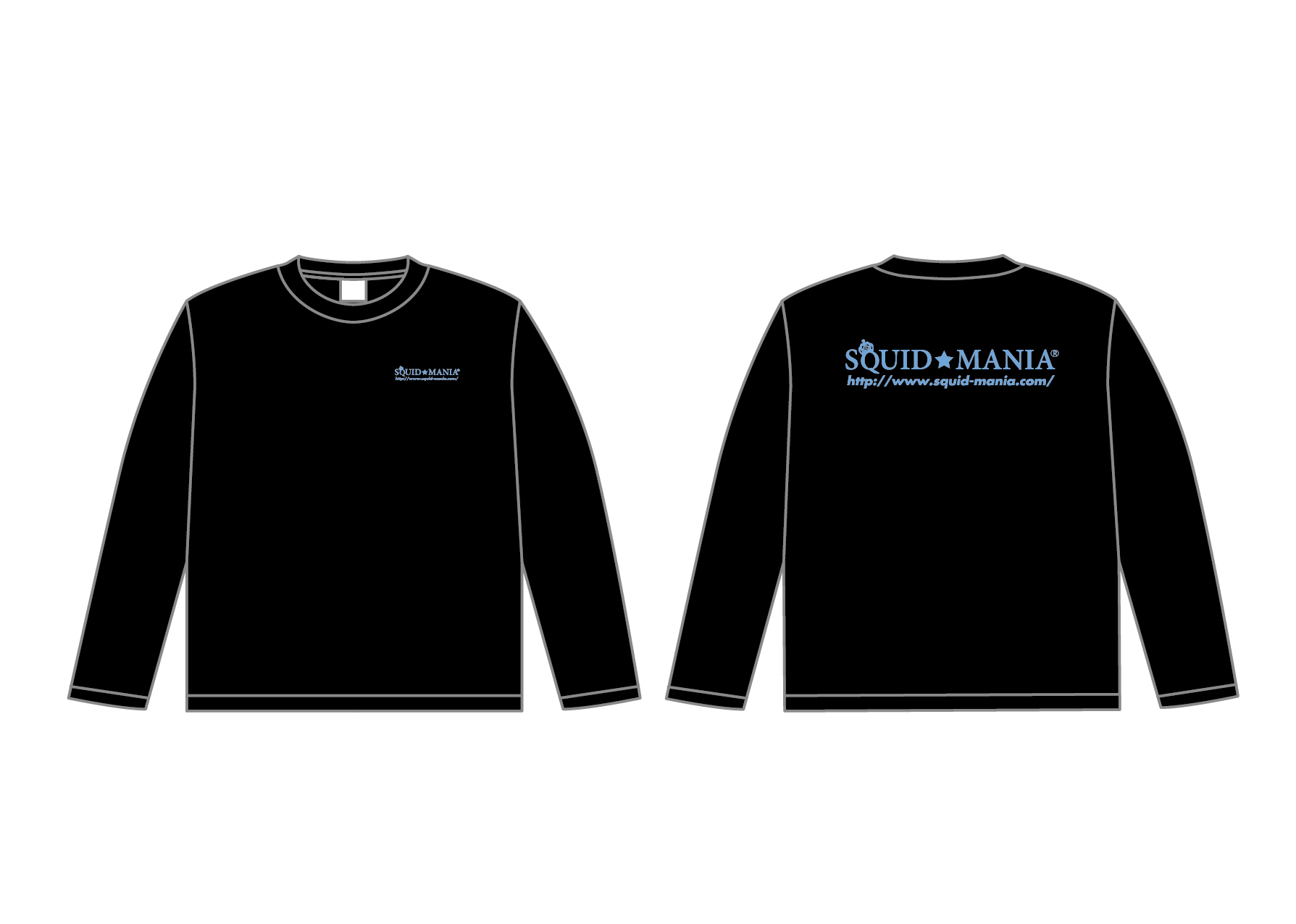 画像1: スクマニ CROWN RING ロングTシャツ(ブラック×サックスブルー)