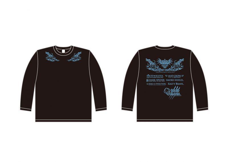 画像1: 烏賊tribal &悪ロボ ロングTシャツ (BLACK/サックスブルー)