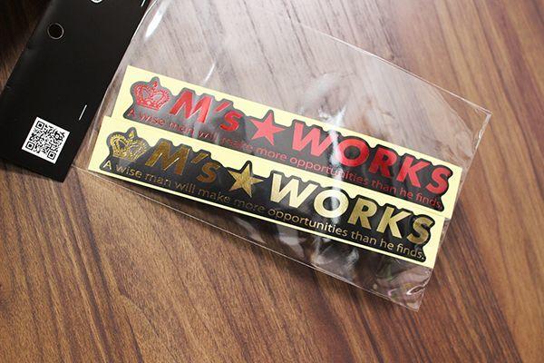 画像1: (金箔押しシール) M's Works 金/赤 W200 『2枚セット』