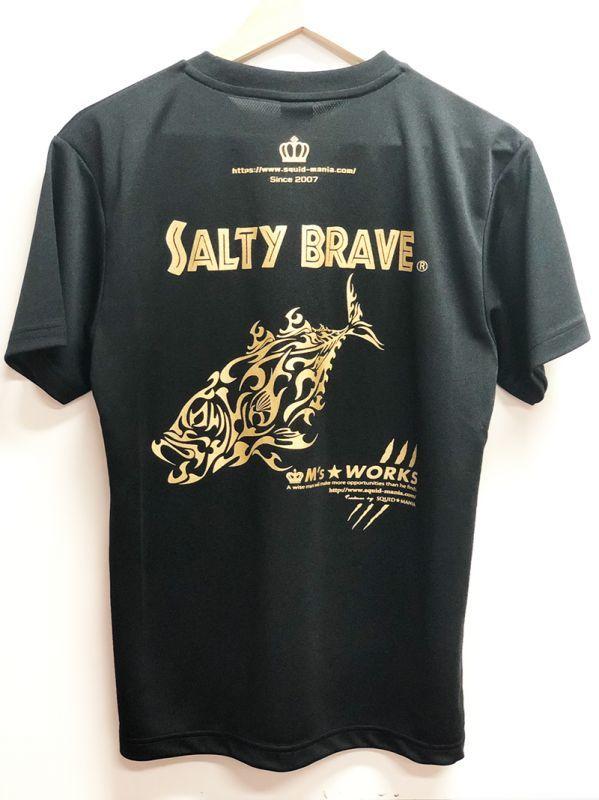 画像1: 鯵トライバル☆ UVカット & DRY Tシャツ(黒金)