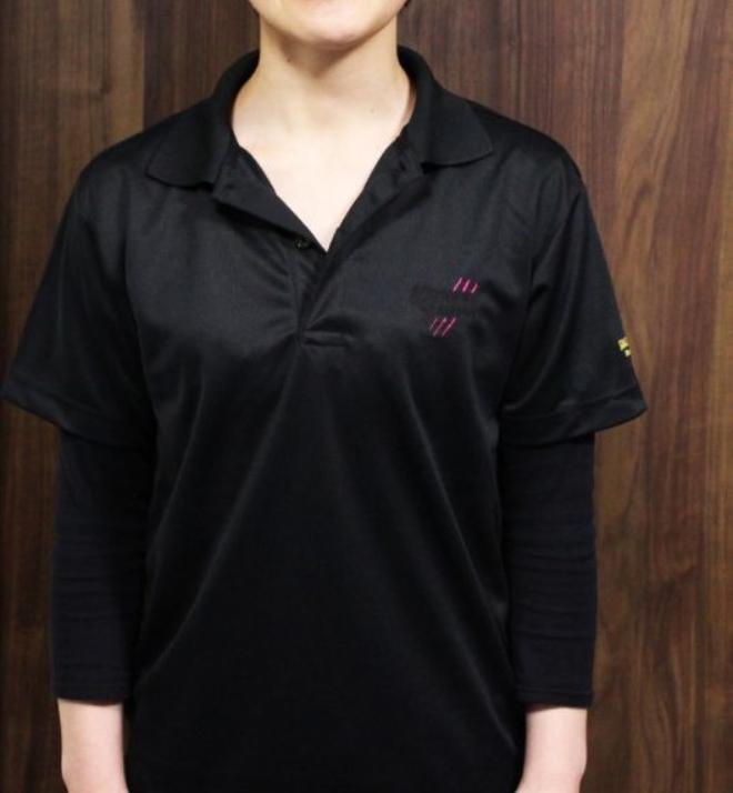 画像1: 烏賊ロボちゃん(女の子)刺繍 BLACK&ピンクドライポロシャツ(黒)