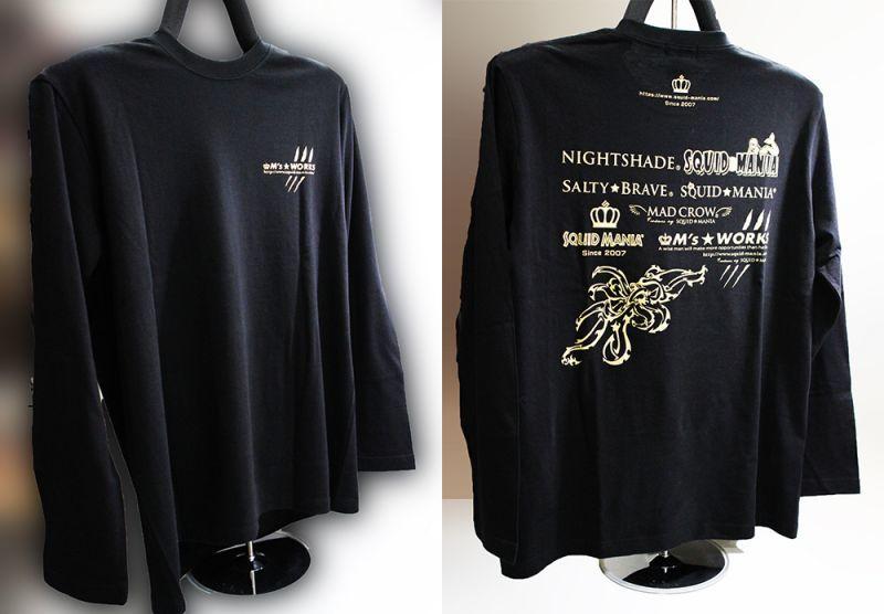 画像1: M's WORKS logo ロングTシャツ(黒/金)